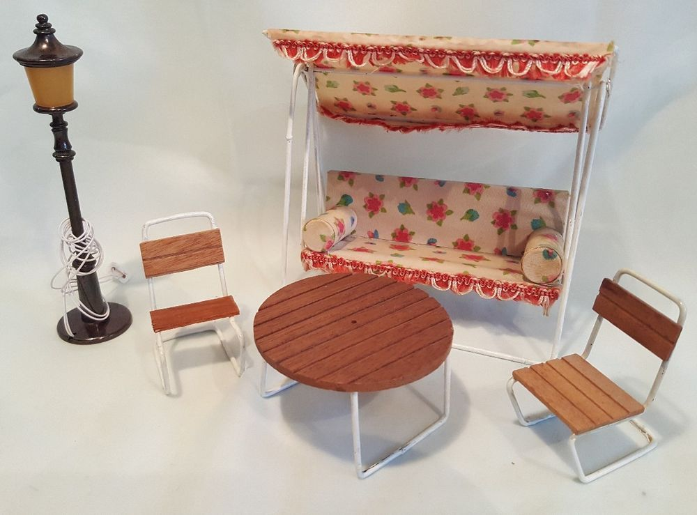 Original Lundby Lisa Dolls House Garden Patio Furniture, 70er Years | EBay