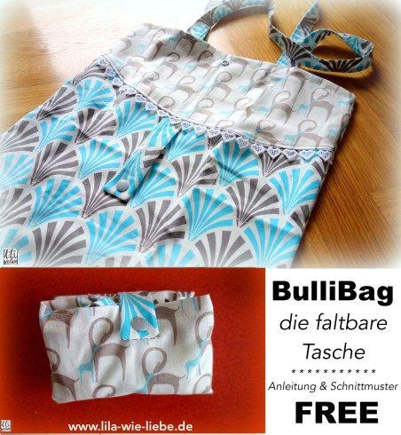 BulliBag - Freebook: eine faltbare Einkaufstasche nähen | Faltbare ...
