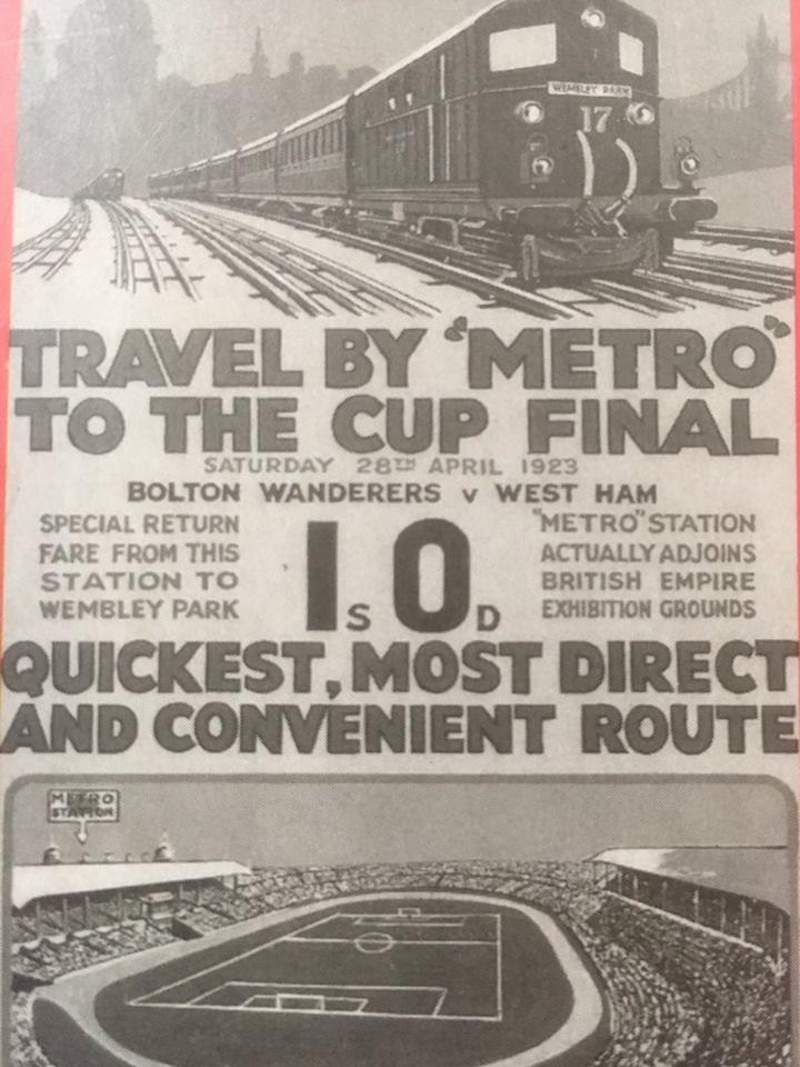 Vá de Metro à primeira final da FA Cup em Wemble. E eles foram. 300 mil. O caos.