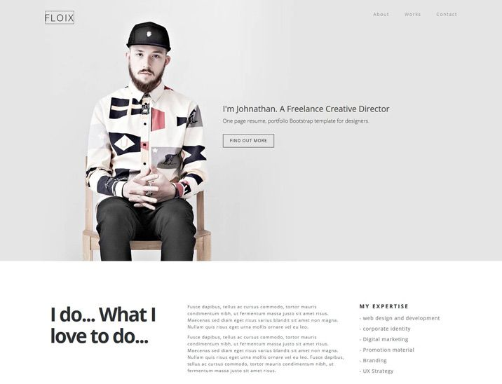 Floix - Onepage Bootstrap Resume Template - Designstub Free