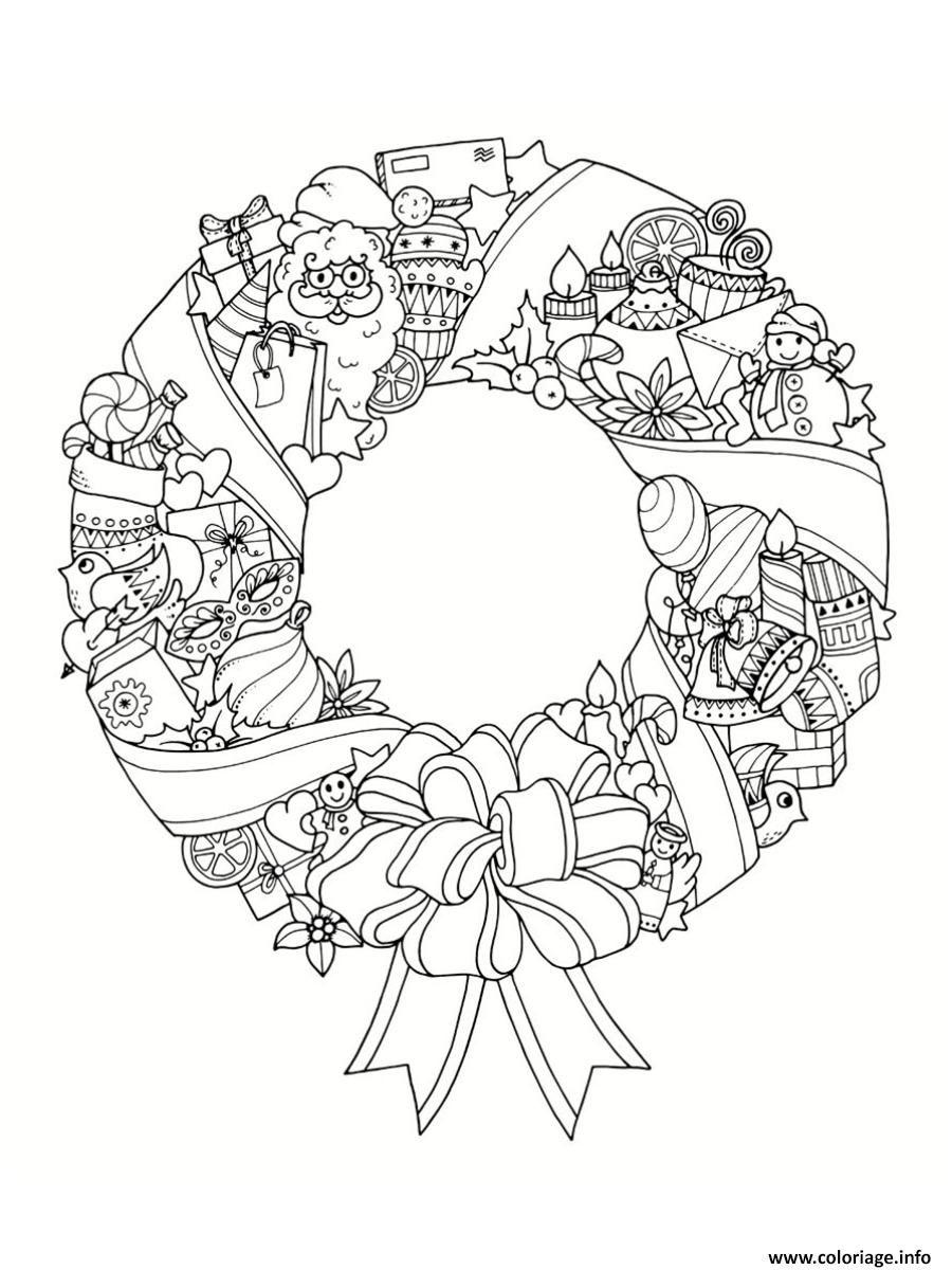 Coloriage mandala noel couronne de noel Dessin à Imprimer