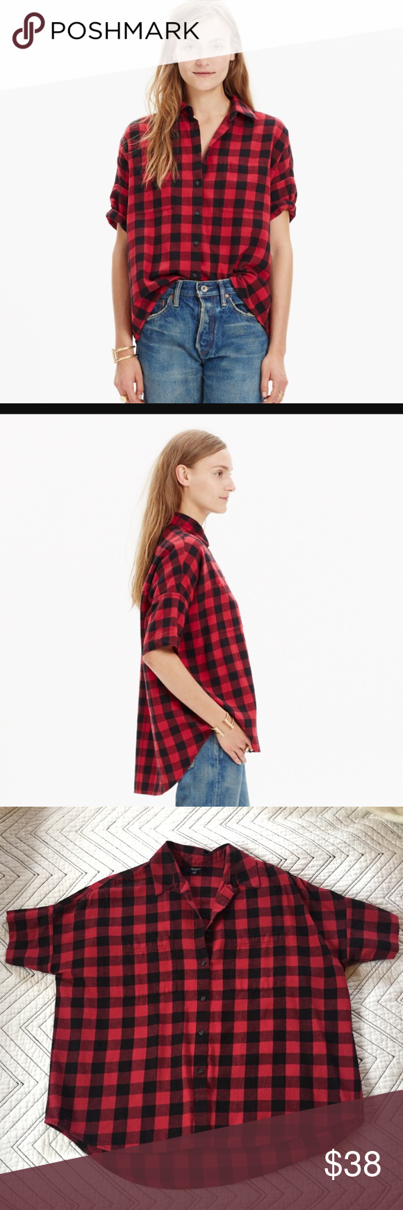 Red flannel shirt black jeans  Madewell Buffalo Check Courier Button Down Shirt  Flannel material