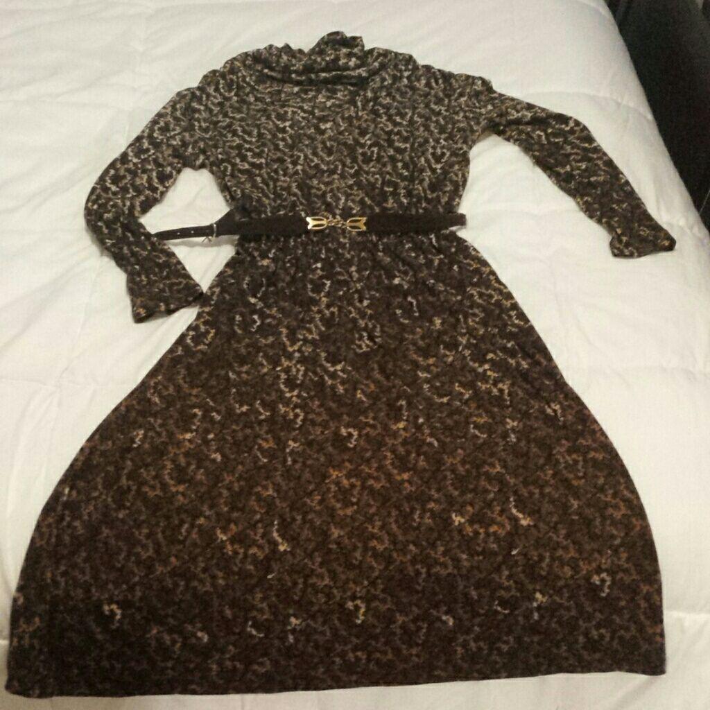 Vintage turtleneck ambre dress and belt products