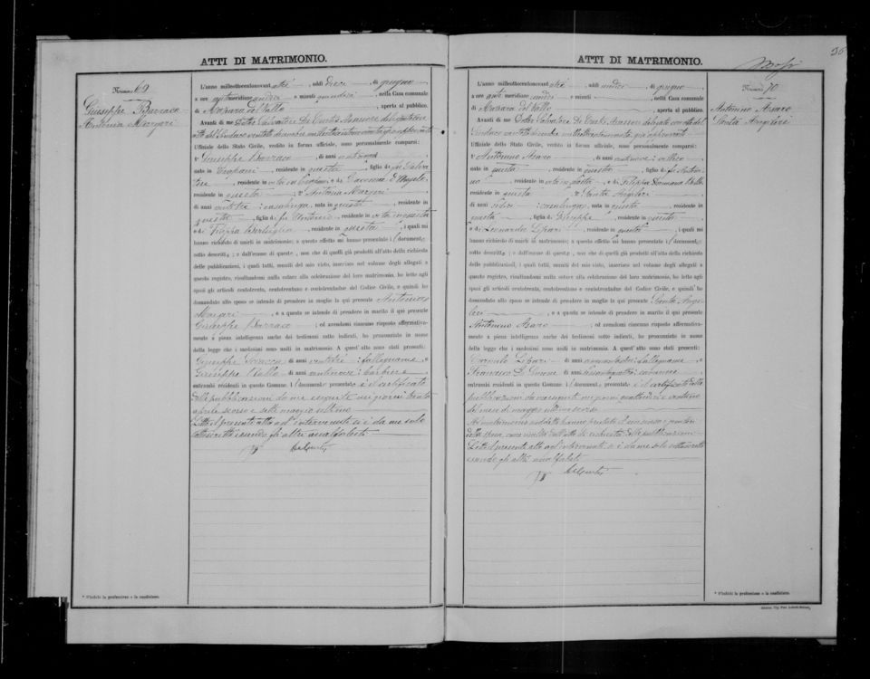 Antonino Asaro & Santa Angileri 1893 marriage record
