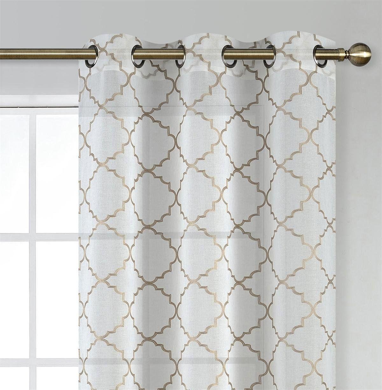 Amazon miuco white sheer curtains embroidered trellis design