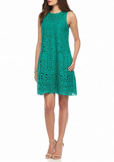 julia jordan Laser-Cut Trapeze Dress