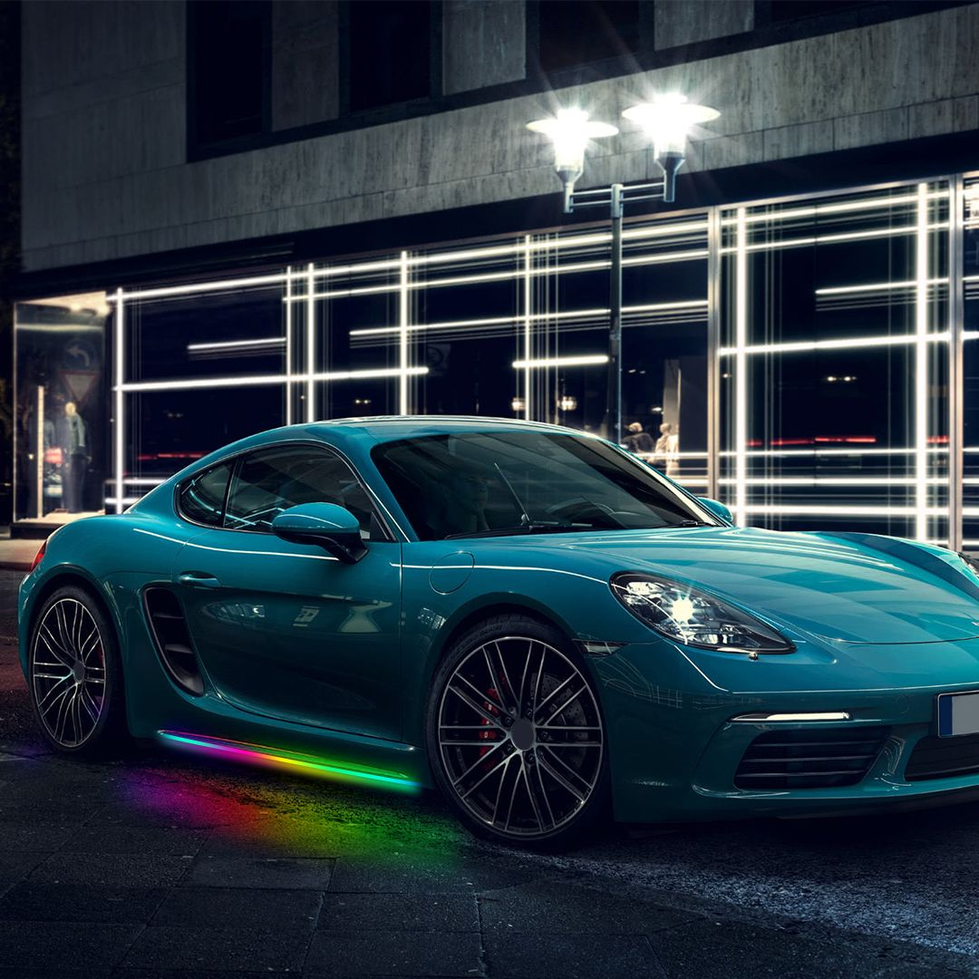 App Remote Control Colorful Led Underbody Lights Porsche Cayman S Sports Car Wallpaper Cayman S