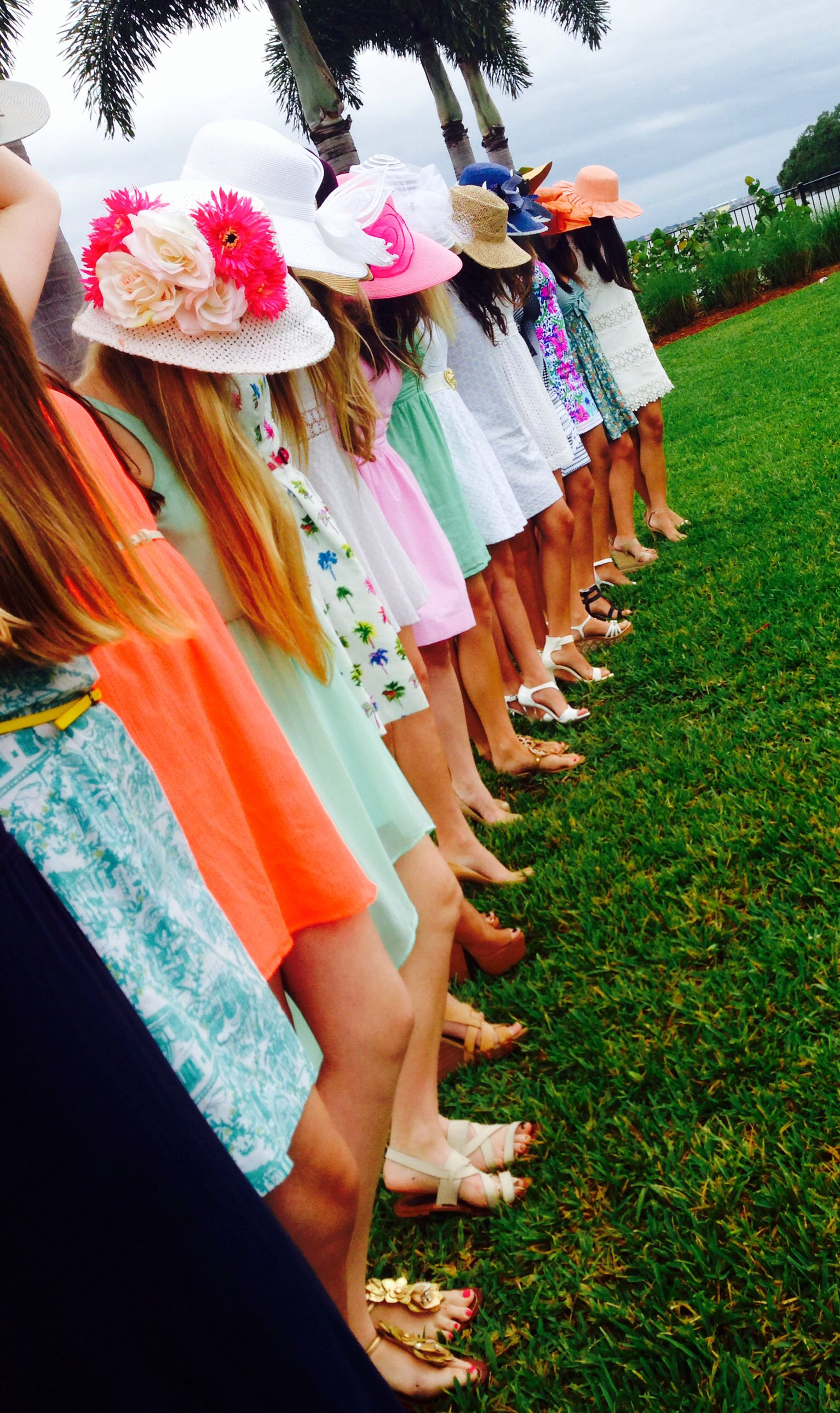 0b8dd8ba5a29 Kentucky Derby style brunch party. Sundresses and big hats  )