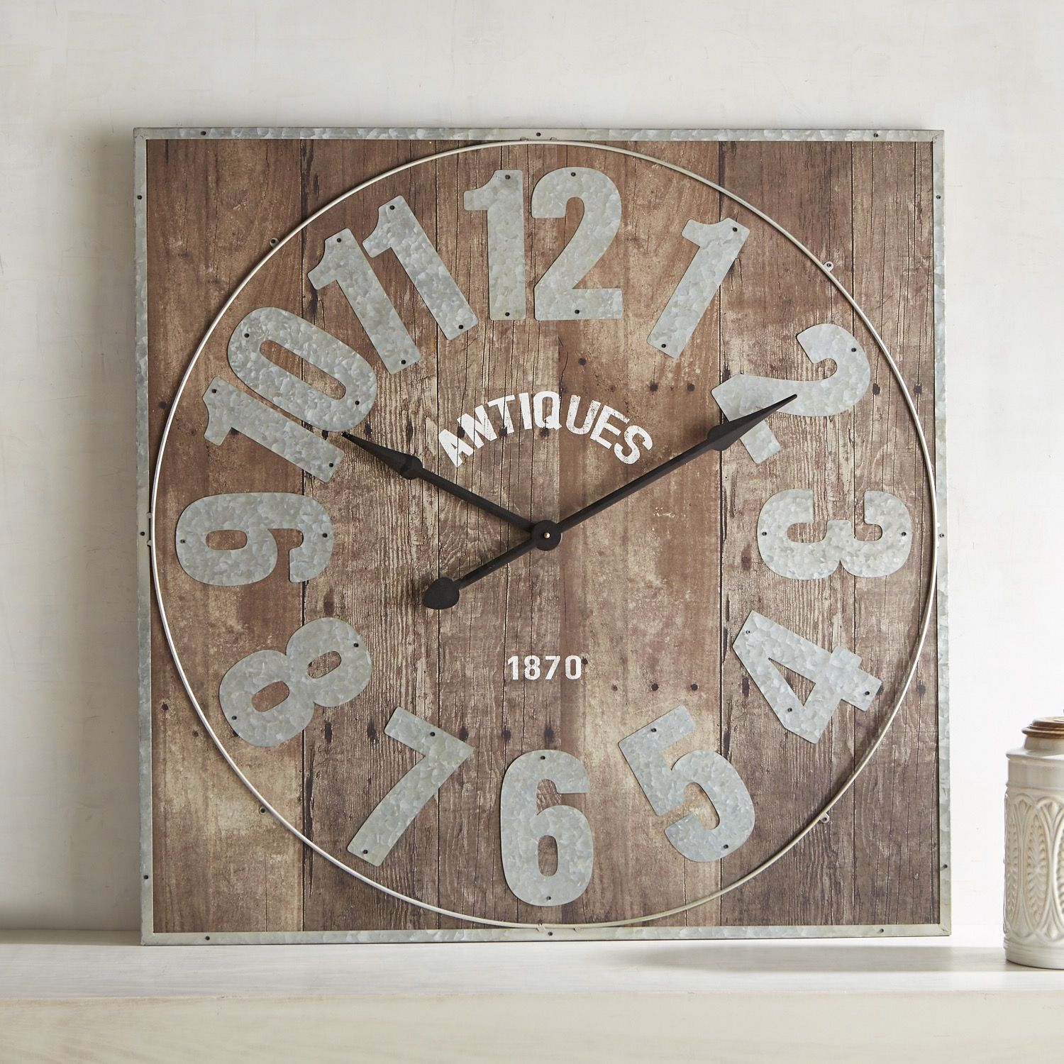 Aged wood square clock brown in 2019 antique wall clocks