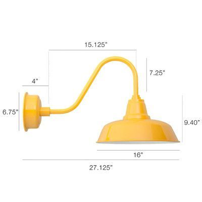 "Cocoweb Goodyear 1 Light Outdoor Barn Light Finish: Yellow, Size: 11.6"" H x 17.7"" W x 17.7"" D"