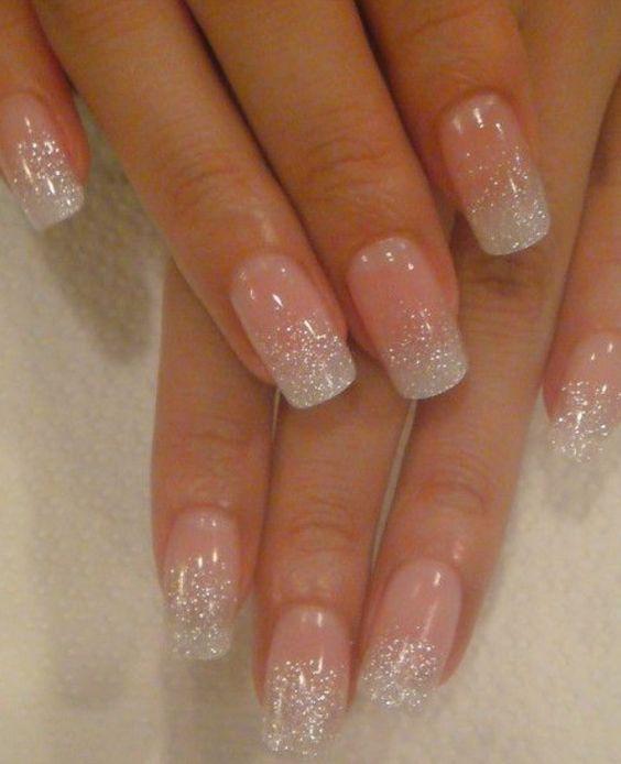 unghie gel nail art sposa con french di brillantini sfumata