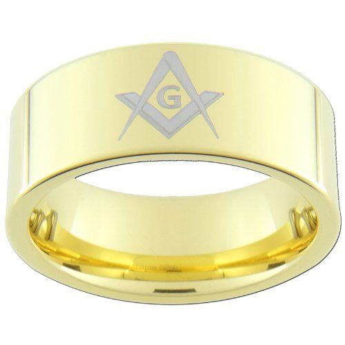 9mm Gold Tungsten Carbide Freemason Masonic Rings (full and half sizes 5-15) Custom Jewelry. $35.00. All our Tungsten Rings are Comfort Fit. Always Free First-Class Shipping. All our tungsten rings are Cobalt Free and stamped Tungsten Carbide on the inside of the ring. Lifetime Warranty - We've Been Selling Tungsten Rings for Nearly a Decade. Available In Full and Half Sizes 5-15