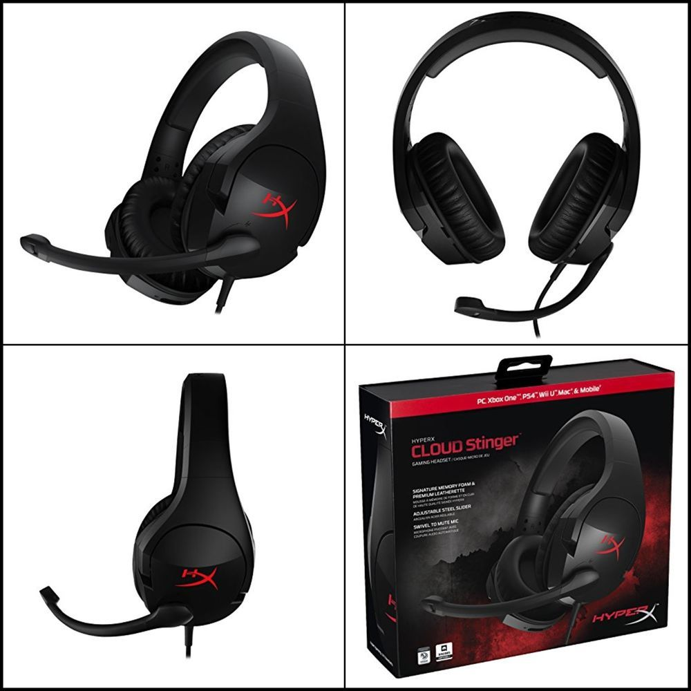 Xbox One HX-HSCS-BK//NA PS4 PRO Gaming Headset PC HyperX Cloud Stinger PS4