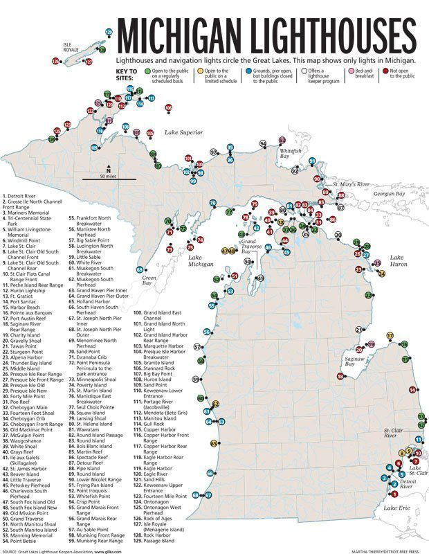 Michigan Lighthouses Map A detailed map of Michigan's Lighthouses My Michigan Bucket List  Michigan Lighthouses Map