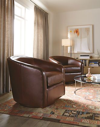 Amos Leather Swivel Chair | Modern Swivel Chairs | Leather ...
