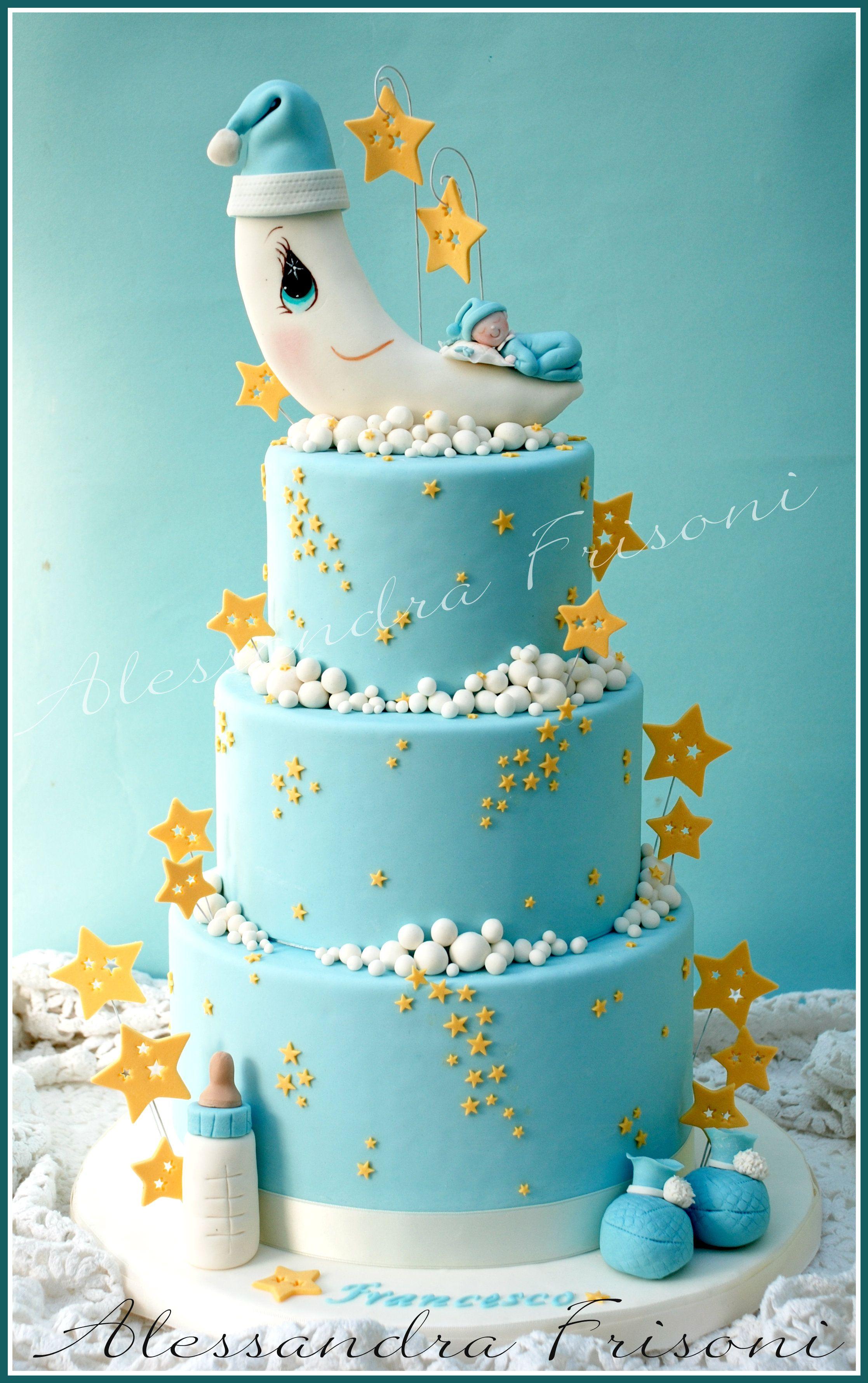Baptism Cake Moon Frisoni Alessandra Studio Cake Baby Boy Cakeskid