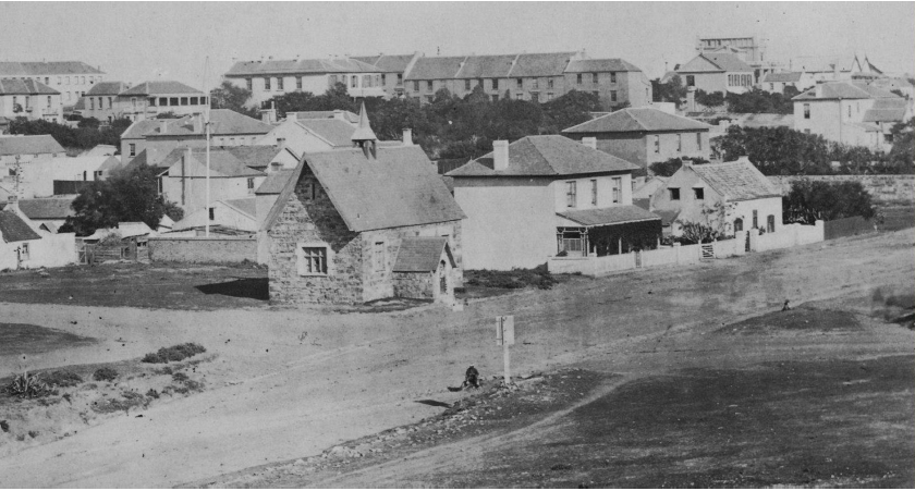 Cora Terrace in 1856. Visible as a row of houses in the upper middle of the photograph