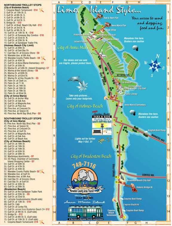 Holmes Beach Florida Map.The City Of Anna Maria Florida Island Trolley Free Aspen Creek