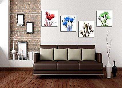 Amazon Com Dzl Art H71133 Framed Ready To Hang Elegant Tulip Flower Canvas Print Wall Art Painting For Kitch Wall Art Painting Canvas Print Wall Flower Canvas Amazon paintings for living room
