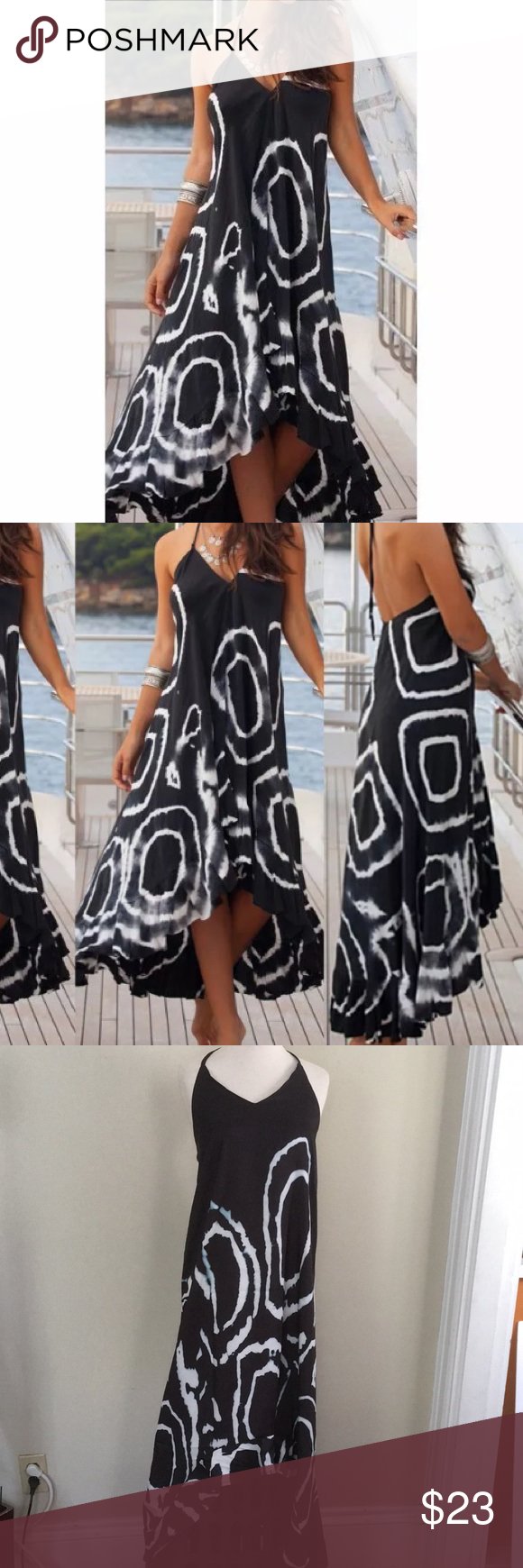 Beach dress coverup black white high low size l my posh closet