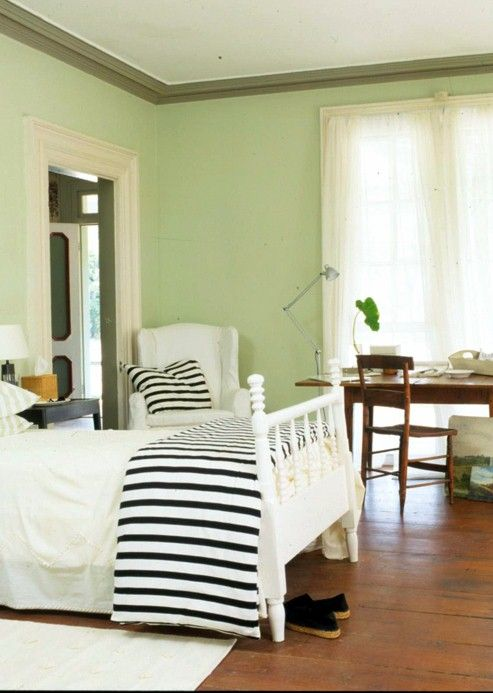 celery green on walls, black and white accents | Bedroom Color Ideas ...