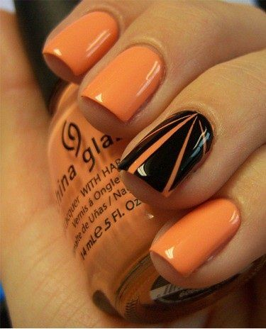 If not much time, just paint all nails w/base color, followed by the Ring finger on each hand being your accent design nail;-)