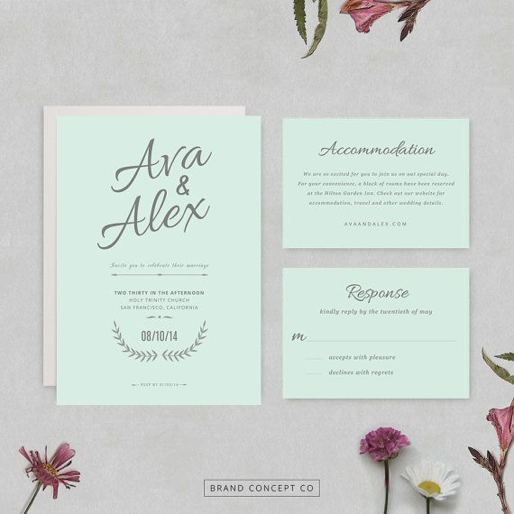 Printable wedding set, INSTANT DOWNLOAD, Invitation template, RSVP - ms word invitation templates