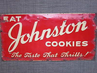 Vintage 1940 S Johnston Cookies Embossed Metal Tin Advertising Art
