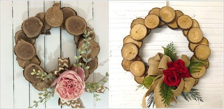 10 creative wood log crafts to try this winter 3 wreath wood rh pinterest com