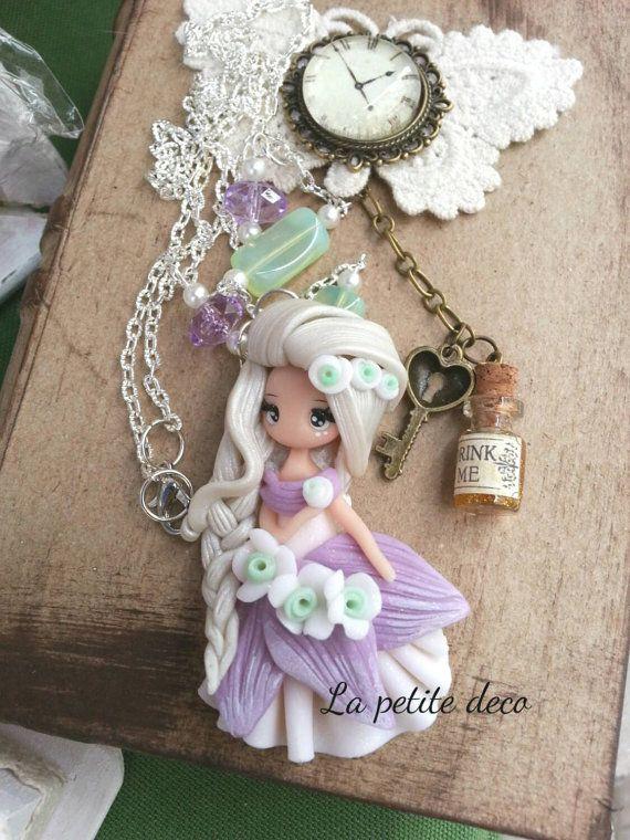 Fairy necklace par lapetitedeco sur etsy figurines pinterest fimo p tes et polym re - Idee creation pate fimo ...