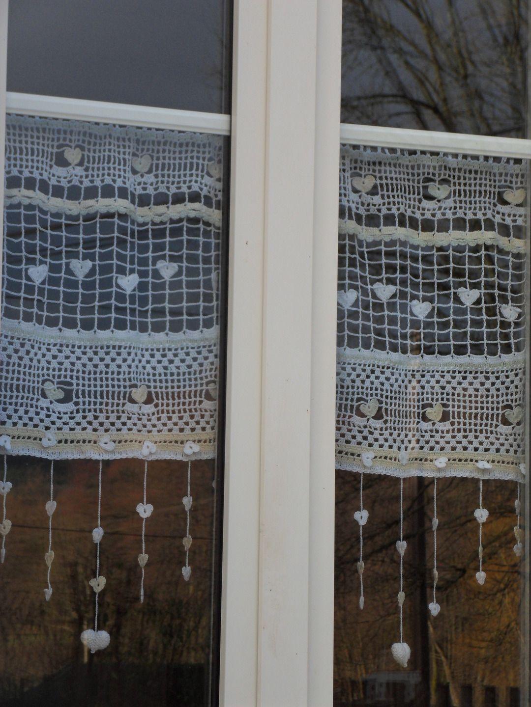 rideau crochet fait main constellation de c urs fa on mounette rideaux crochet constellation. Black Bedroom Furniture Sets. Home Design Ideas