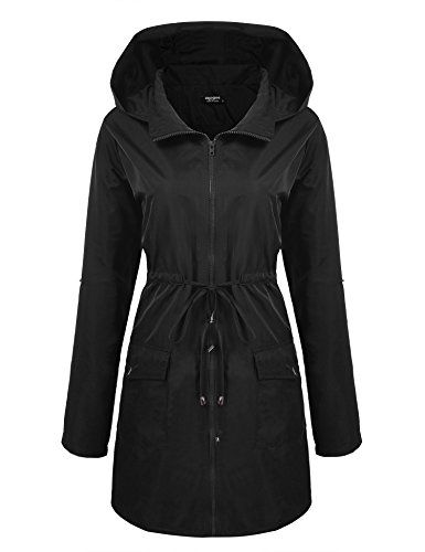 Zeagoo Women Lightweight Waterproof Windbreaker Long Rain Hooded Jacket