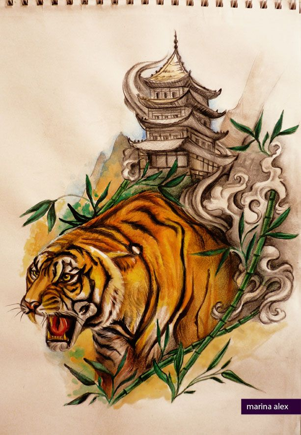 Oriental Tattoo Design Tiger And Pagoda Oriental Tattoo Japanese Tiger Tattoo Tattoos