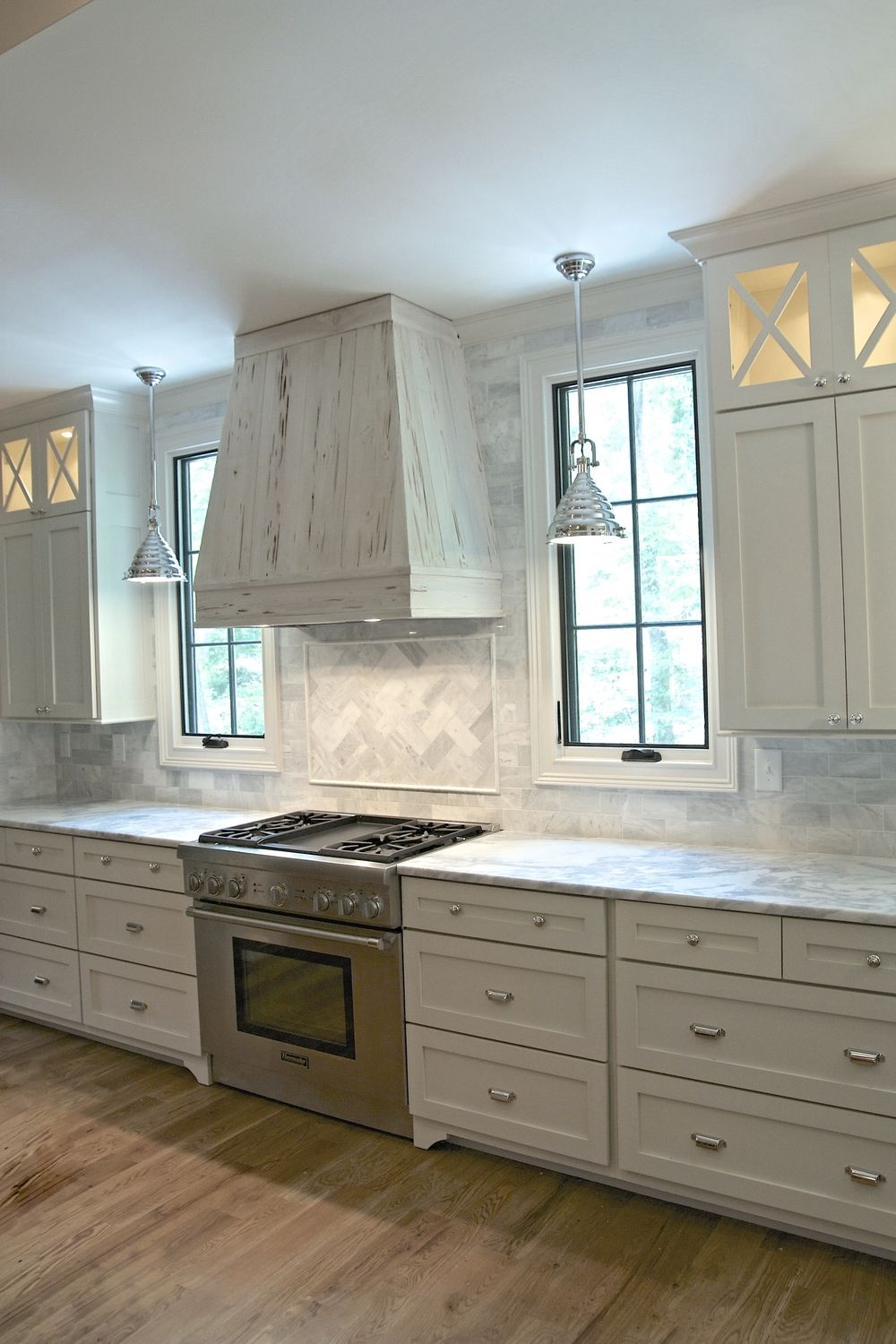 White Shaker Cabinets Full Overlay Cabinets Bin Pulls Polished Nickel Thermador Range Pecky Cypress Kitchen Window Design Timeless Kitchen Kitchen Remodel