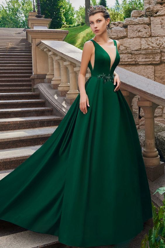 f63fe1f19cc Graceful Tulle   Satin V-neck Neckline Floor-length A-line Evening ...