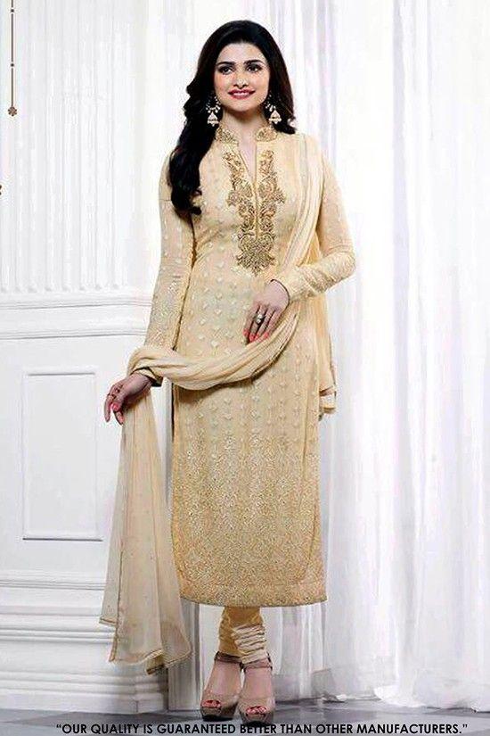 Wedding Wear Cream Georgette Slit Salwar Suit - 71314 | Designer ...