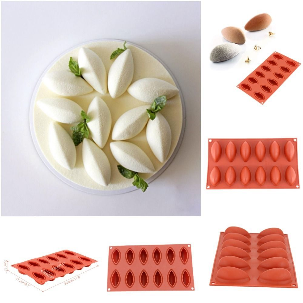 3d 12 Cavity Quenelle Shaped Silicone Mold Wine Red Mousse Cake Decorating News Cake Decorating Classes Cake Decorating Tools Mousse Cake Recipe