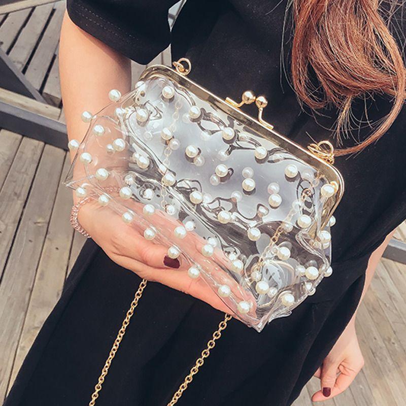Vintage Clutch Pearl Beaded Transparent Chain Luxury Purse Crossbody Buckle Bag Lfs Clutchcrossbodyshoulderbag Luxury Purses Pearl Bag Buckle Bags