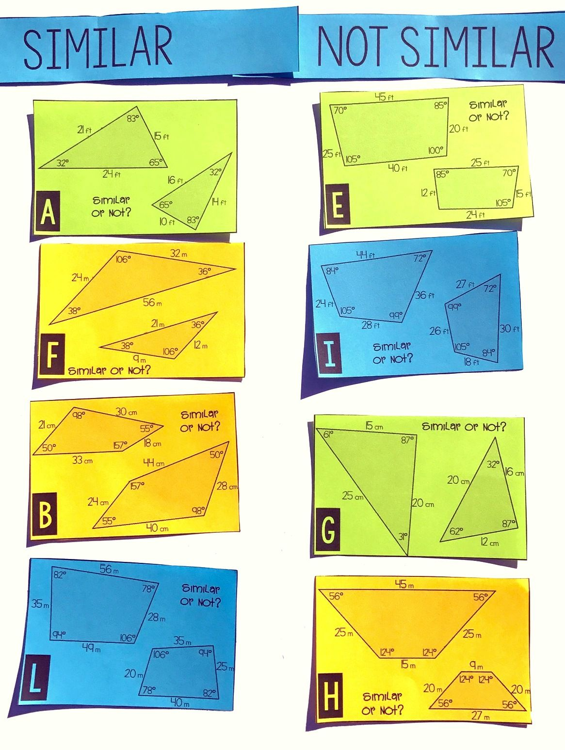 Similar Shapes Card Sort 7th Math Teaching Geometry