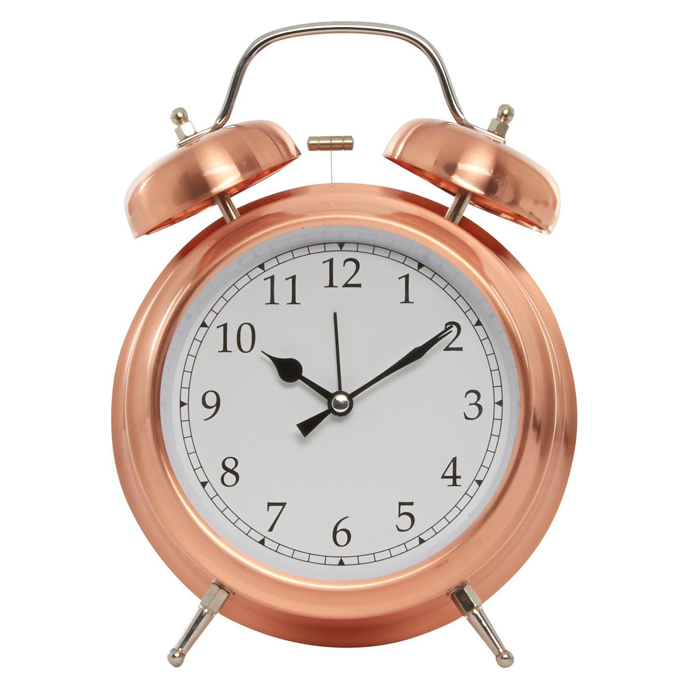 George Home Copper Finish Double Bell Alarm Clock Home Accessories Asda Direct Copper Home Accessories George Home Clock