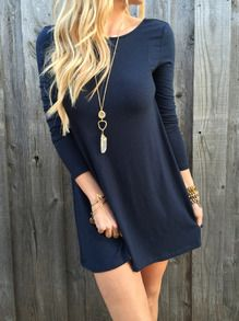 Black Long Sleeve V Back Dress -SheIn(Sheinside)