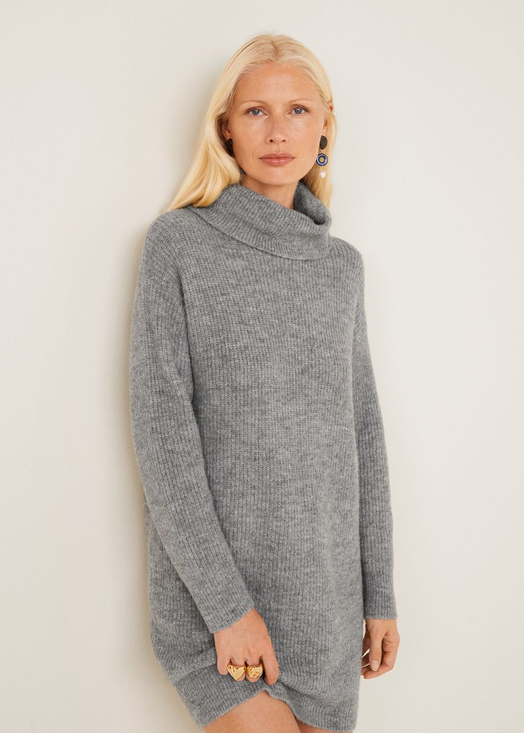 7e03b7626b61dc Tricot jurk ribdetails - Dames in 2018