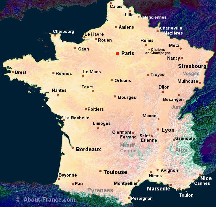 Detailed Map of France with Cities  World Map  Pinterest