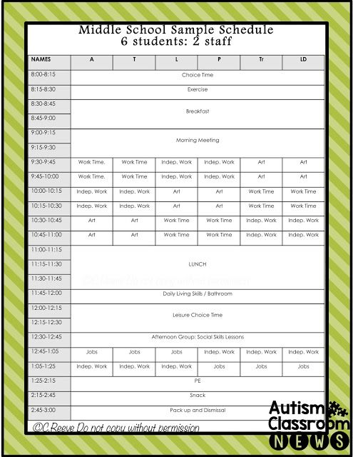 5 examples of setting classroom schedules in special education
