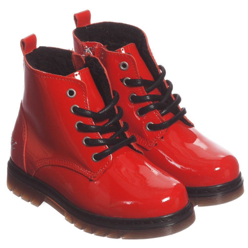 Armani Girls Red Patent Ankle Boots | Little Girl Shoes ...