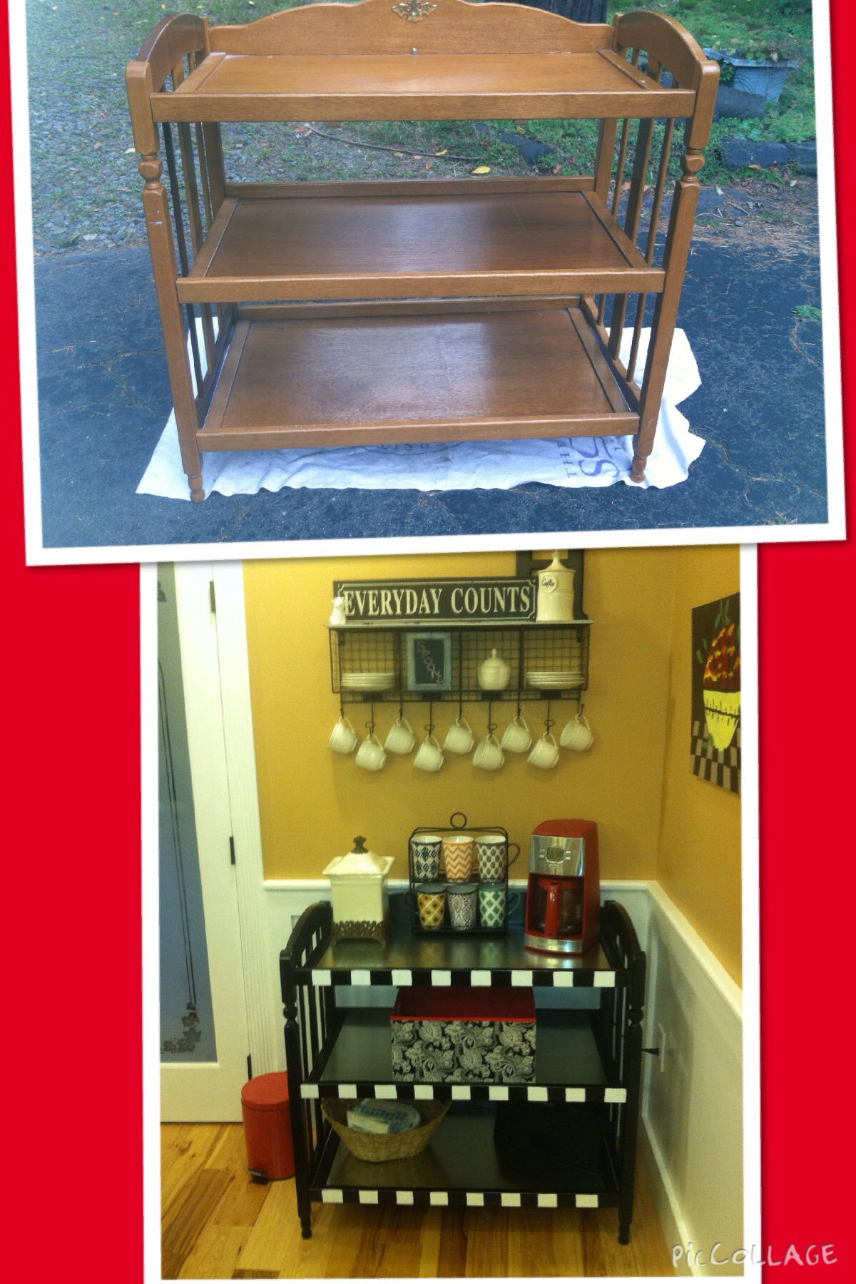 An Old Baby Changing Table Is Turned Into A Coffee Station For The