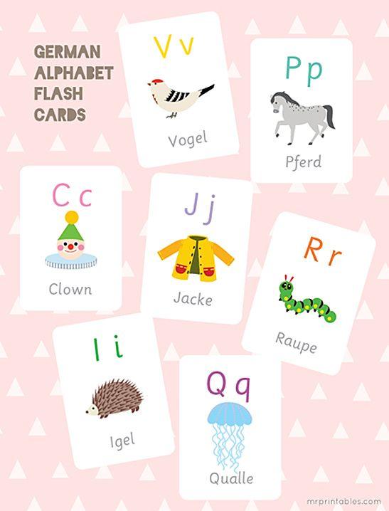 German Alphabet Flash Cards - Mr Printables | Deutsch für Kinder ...
