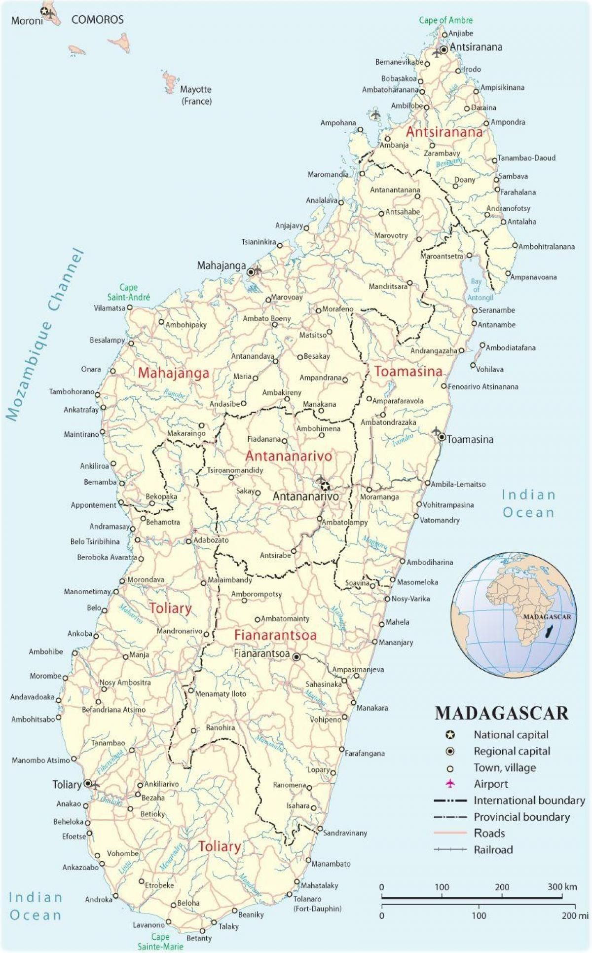 Madagascar Aeropuertos Mapa Mapa De Madagascar Aeropuertos