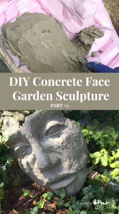 Photo of DIY Concrete Face Garden Sculpture – Made By Barb – Artistic concrete sculpting made easy