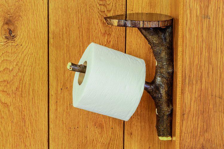 Rustic Wooden Toilet Paper Holder Shelf, Tree Branch Toilet Paper Holder,  Log Cabin Bathroom Decor, Wood Bath Tissue Hanger, Accessories